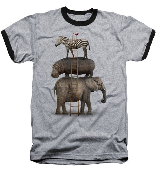 Elephant, Hippo, Zebra Animal Stack With A Cardinal Baseball T-Shirt by Greg Noblin