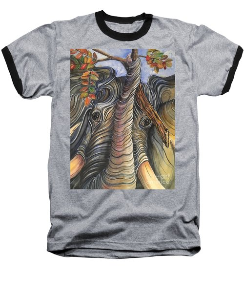 Elephant Holding A Tree Branch Baseball T-Shirt
