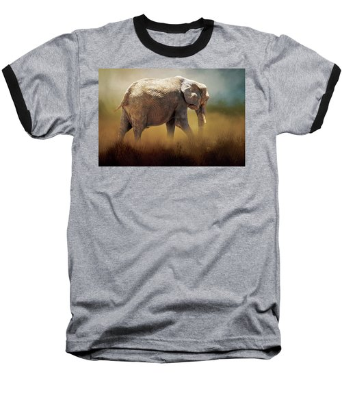 Baseball T-Shirt featuring the photograph Elephant In The Mist by David and Carol Kelly