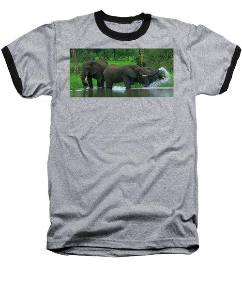 Elephant Shower Baseball T-Shirt