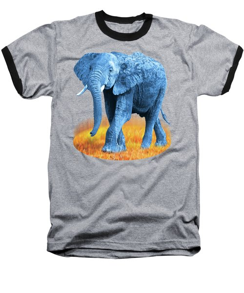 Baseball T-Shirt featuring the photograph Elephant - World On Fire by Gill Billington
