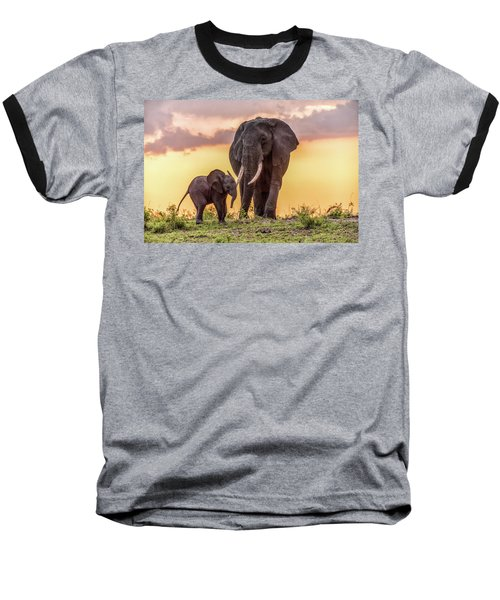 Baseball T-Shirt featuring the photograph Elephants At Sunset by Janis Knight