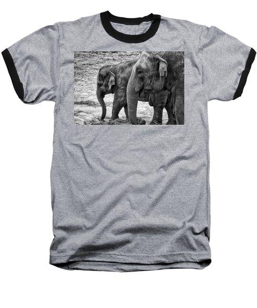 Elephants Bw Baseball T-Shirt