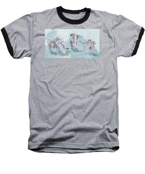 Elephants In Blue Baseball T-Shirt