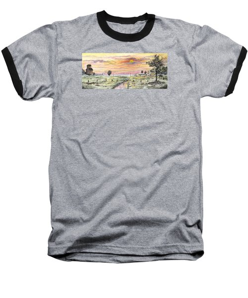 Baseball T-Shirt featuring the digital art Elevator In The Sunset by Darren Cannell
