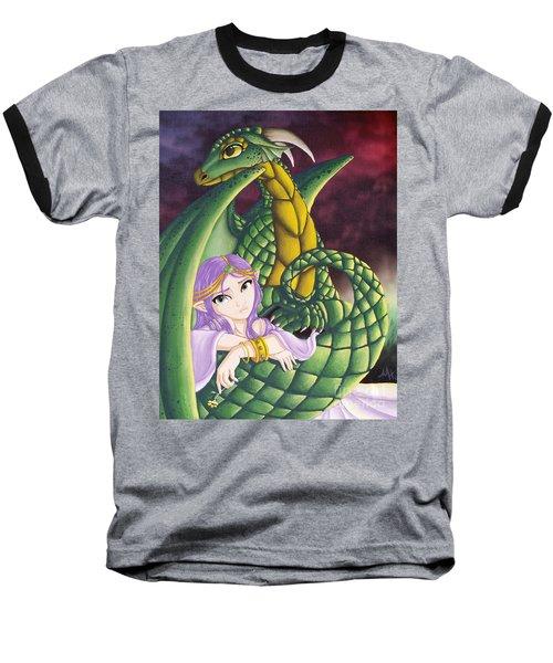 Elf Girl And Dragon Baseball T-Shirt