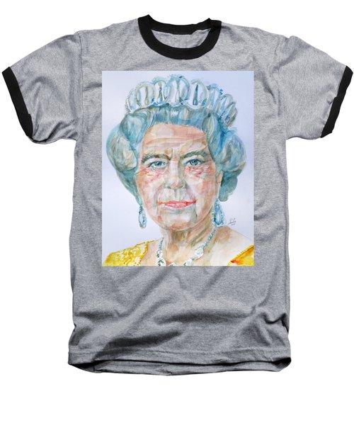 Baseball T-Shirt featuring the painting Elizabeth II - Watercolor Portrait.2 by Fabrizio Cassetta