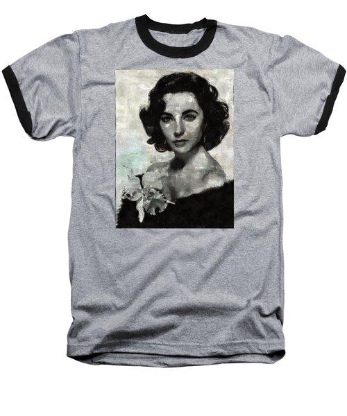 Elizabeth Taylor Baseball T-Shirt by Mary Bassett