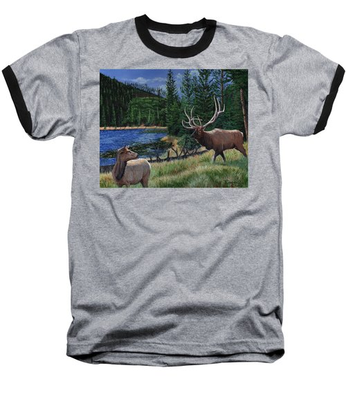 Elk At Beaver Lake  Yellowstone Baseball T-Shirt