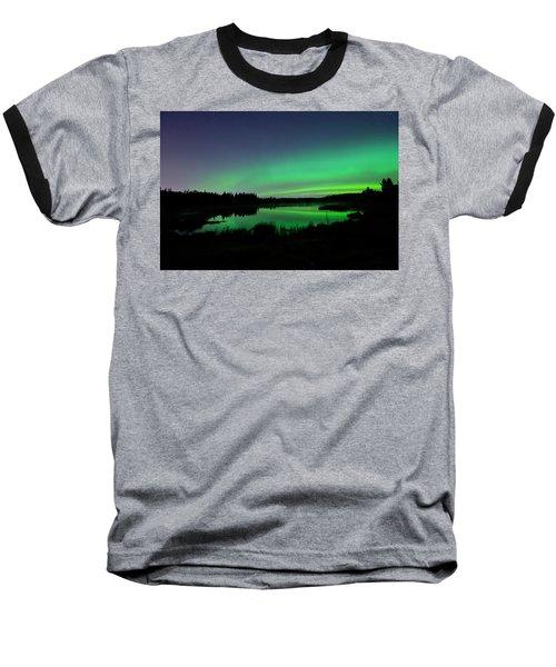Elk Island Aurora Reflections Baseball T-Shirt