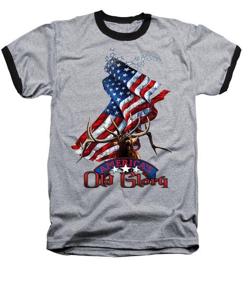 Elk Old Glory Baseball T-Shirt by Rob Corsetti
