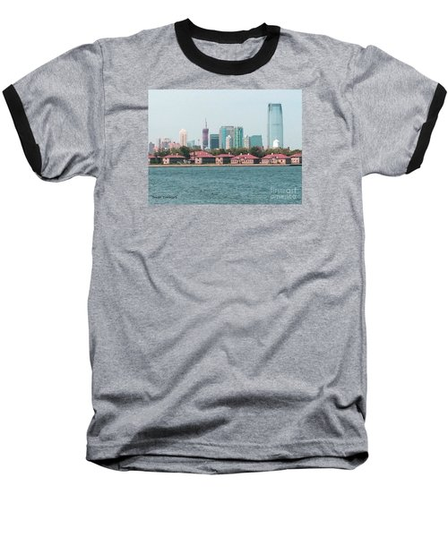 Baseball T-Shirt featuring the painting Ellis Island And Nyc by Denise Tomasura