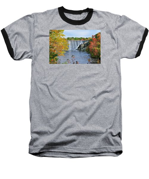 Ellsworth, Maine Dam Baseball T-Shirt by Debbie Stahre