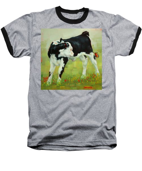 Baseball T-Shirt featuring the painting Elly The Calf And Friend by Margaret Stockdale