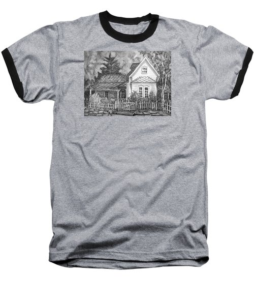 Baseball T-Shirt featuring the painting Elma's House In Bw by Gretchen Allen