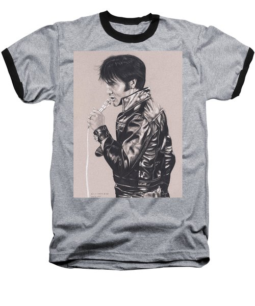 Elvis In Charcoal #177, No Title Baseball T-Shirt