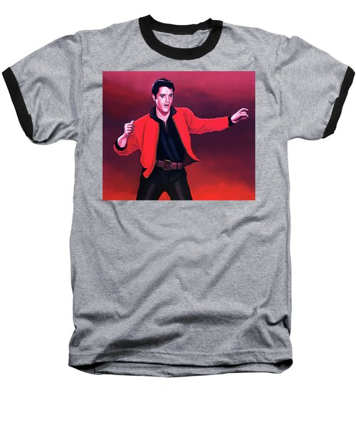 Elvis Presley 4 Painting Baseball T-Shirt by Paul Meijering