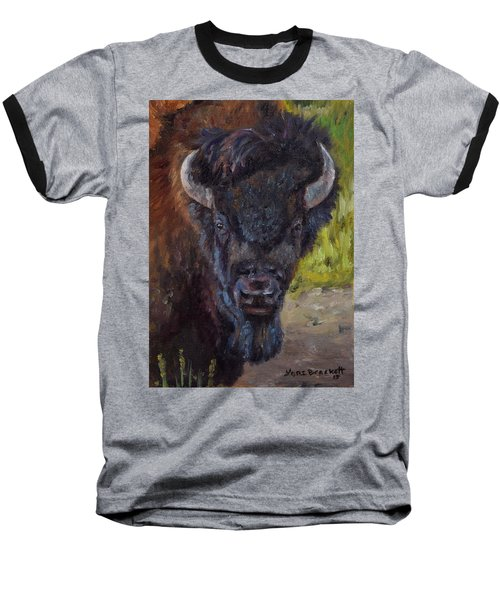 Elvis The Bison Baseball T-Shirt by Lori Brackett