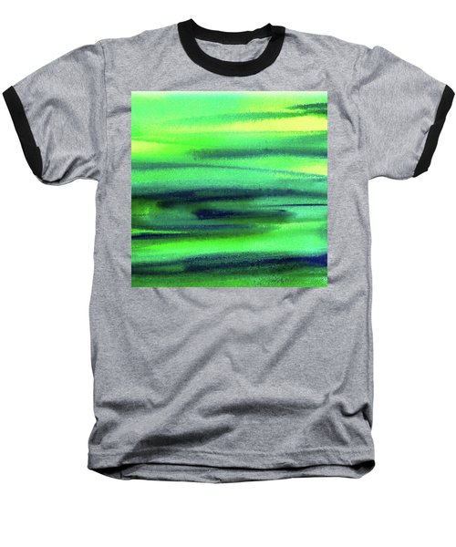 Emerald Flow Abstract Painting Baseball T-Shirt