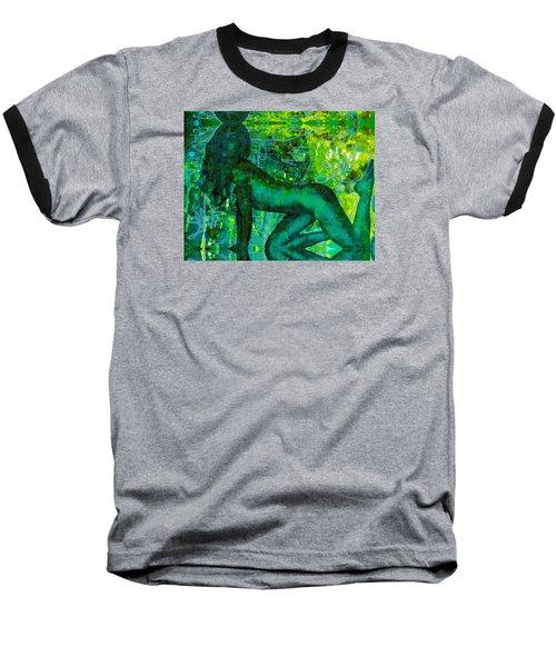 Emerald Green Sacred Sex Graffiti Baseball T-Shirt by Deprise Brescia
