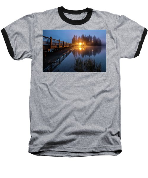 Baseball T-Shirt featuring the photograph Emerald Lake Lodge In The Twilight Fog by Pierre Leclerc Photography
