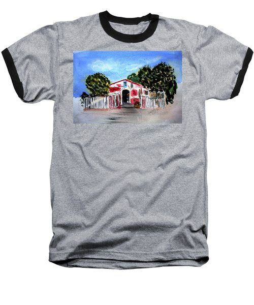 Baseball T-Shirt featuring the painting Emiles Road Side Grocer by Donna Walsh