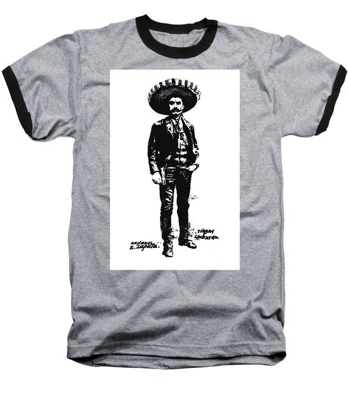 Baseball T-Shirt featuring the drawing Emiliano Zapata by Antonio Romero