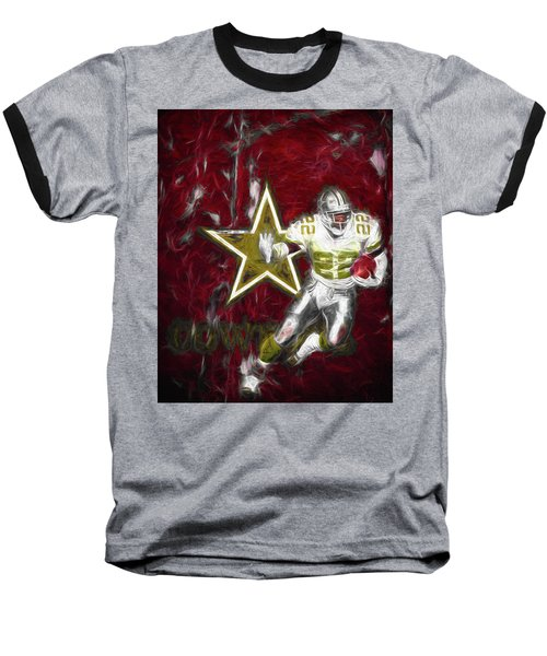 Emmitt Smith Nfl Dallas Cowboys Gold Digital Painting 22 Baseball T-Shirt by David Haskett