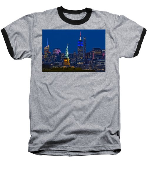 Empire State And Statue Of Liberty II Baseball T-Shirt