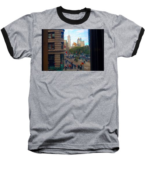 Baseball T-Shirt featuring the photograph Empire State Building - Crackled View 2 by Madeline Ellis