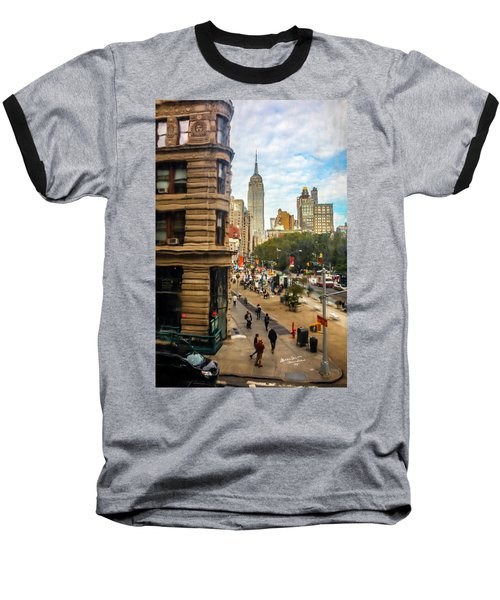 Baseball T-Shirt featuring the photograph Empire State Building - Crackled View 3 by Madeline Ellis