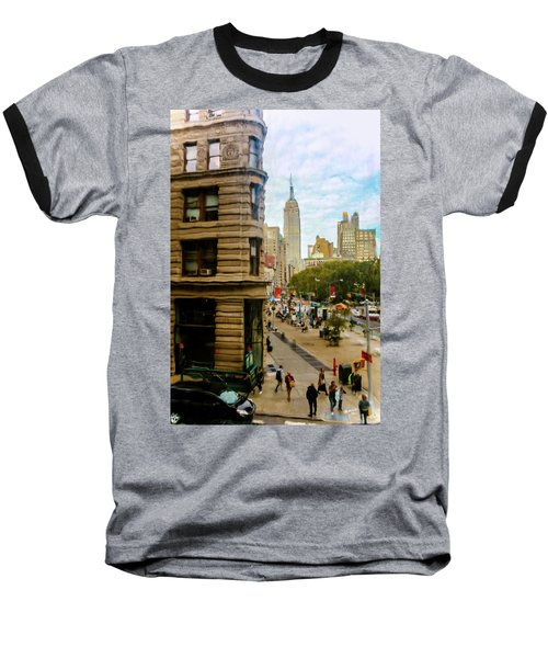 Baseball T-Shirt featuring the photograph Empire State Building - Crackled View by Madeline Ellis
