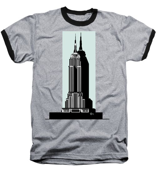 Empire State Building Deco Minimal Baseball T-Shirt by Cecely Bloom