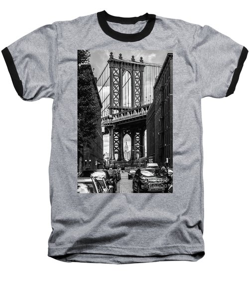 Empire State Building Framed By Manhattan Bridge Baseball T-Shirt