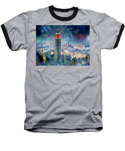 Empire State Building In 4th Of July Baseball T-Shirt by Ylli Haruni