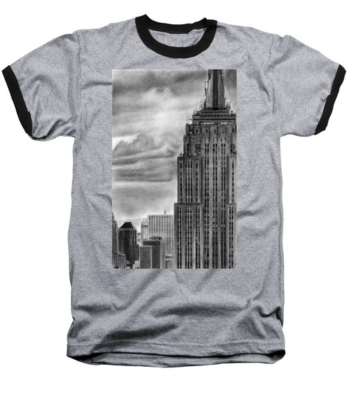 Empire State Building New York Pencil Drawing Baseball T-Shirt