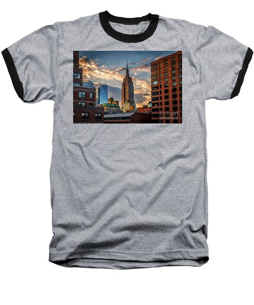 Empire State Building Sunset Rooftop Baseball T-Shirt