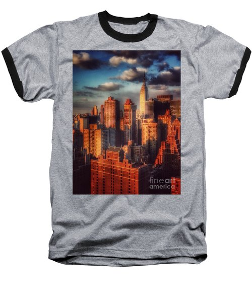 Empire State In Gold Baseball T-Shirt by Miriam Danar