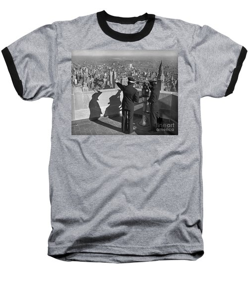 Baseball T-Shirt featuring the photograph Empire State Lookout 1947 by Martin Konopacki Restoration