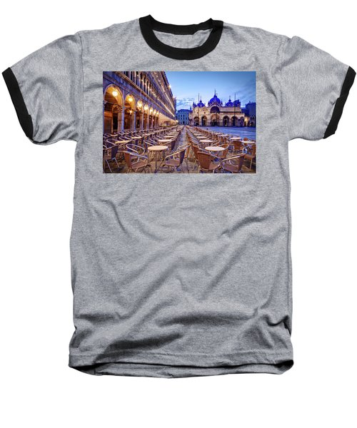 Empty Cafe On Piazza San Marco - Venice Baseball T-Shirt
