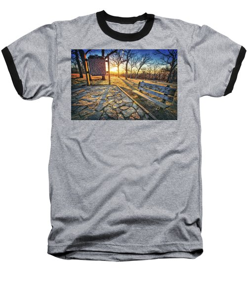 Baseball T-Shirt featuring the photograph Empty Park Bench - Sunset At Lapham Peak by Jennifer Rondinelli Reilly - Fine Art Photography
