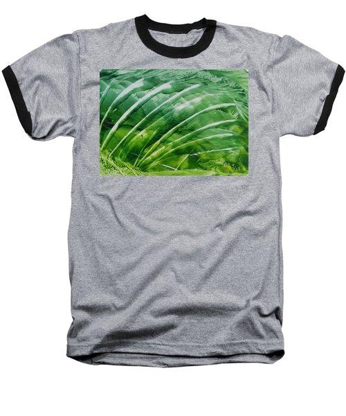 Encaustic Abstract Green Fan Foliage Baseball T-Shirt