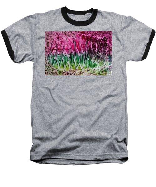 Encaustic Abstract Pinks Greens Baseball T-Shirt
