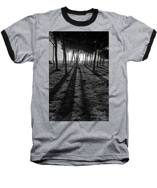 Enchanted Sunset In Monochrome Baseball T-Shirt by Angelo DeVal