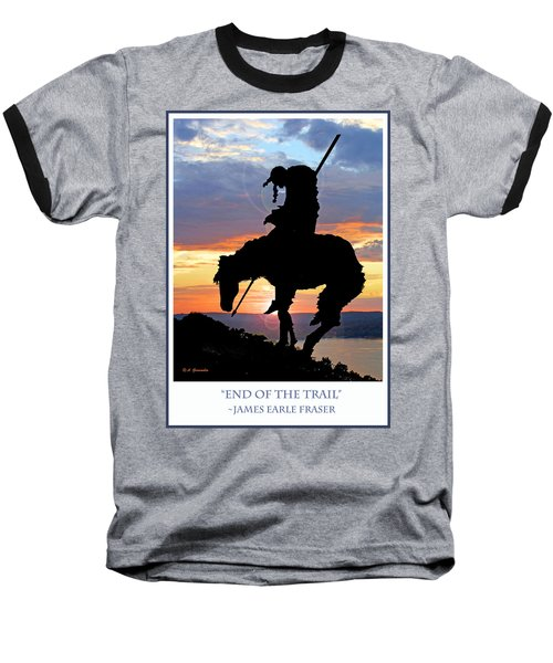 End Of The Trail Sculpture In A Sunset Baseball T-Shirt