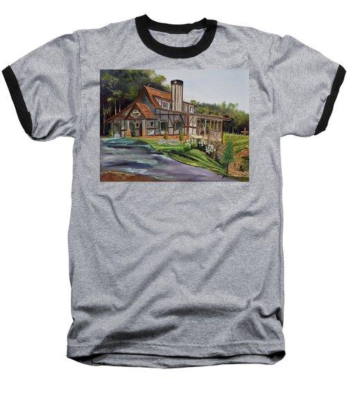 Baseball T-Shirt featuring the painting Engelheim In The Morning - Vineyard - Ellijay, Ga by Jan Dappen
