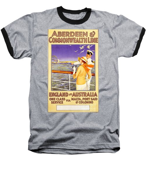 England To Australia Baseball T-Shirt by Nostalgic Prints