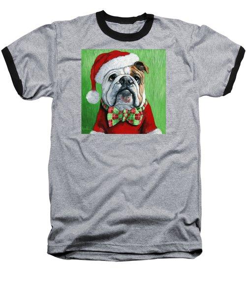 Holiday Cheer -english Bulldog Santa Dog Painting Baseball T-Shirt by Linda Apple