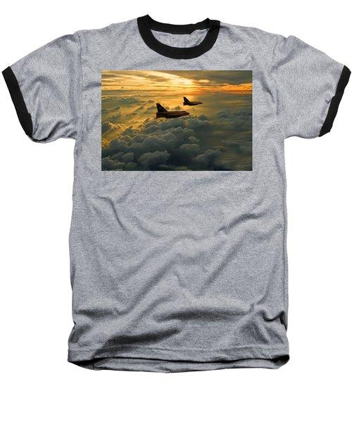 English Electric Lightning Sunset Flight Baseball T-Shirt by Ken Brannen