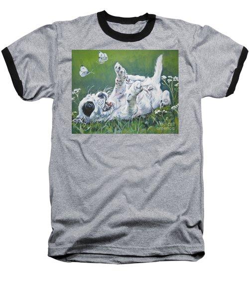 English Setter Puppy And Butterflies Baseball T-Shirt